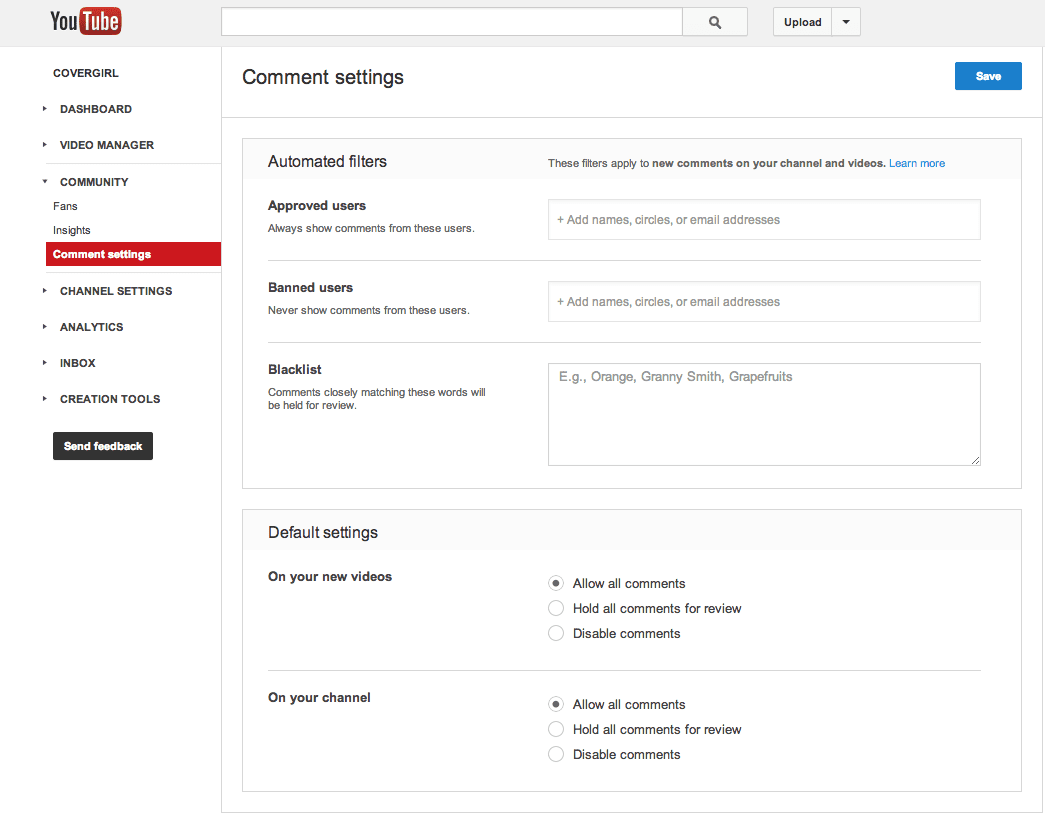 Youtube Comment Settings screenshot
